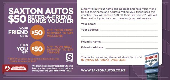 Saxton Autos FREE $50 Voucher